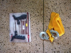 puncture kit and towing rope